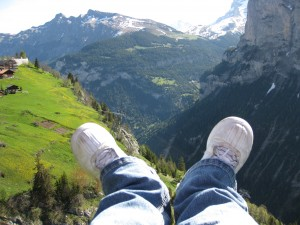 My feet - paragliding over the Lauterbrunnen Valley, Switzerland