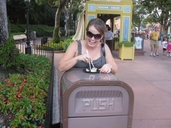 Anything becomes a table - Food & Wine Fest at Epcot, Disney World
