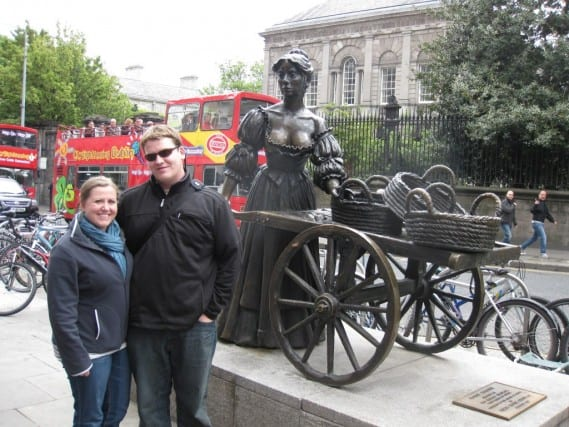 sightseeing in dublin ireland, geocaching in dublin ireland, molly malone statue dublin