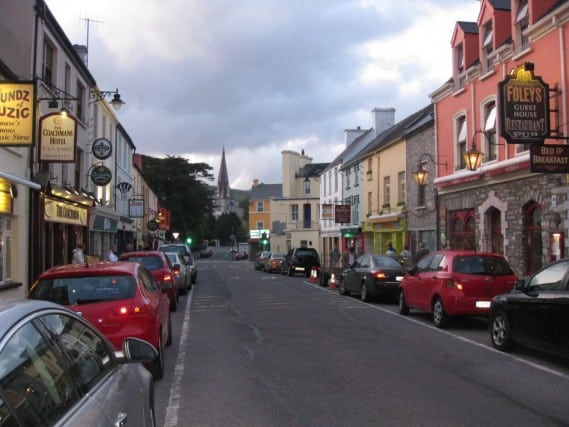 view of charming downtown kenmare ireland streets before sunset