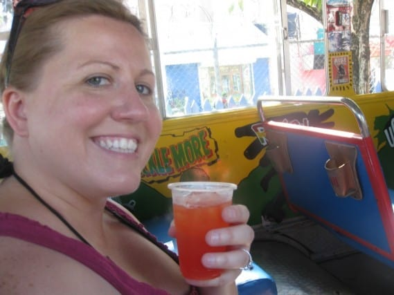 Enjoying a Rum Punch on the Zion Bus