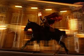 The headless horseman runs at Disney for Halloween