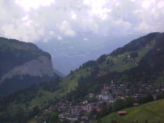 Scenic mountain towns - on the train up the Jungfrau mountain, looking below