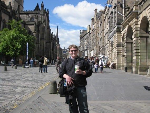 Morning coffee in historic Edinburgh, Scotland
