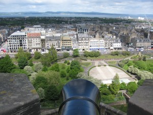 View of Edinburgh, Scotland from a Castle Canon