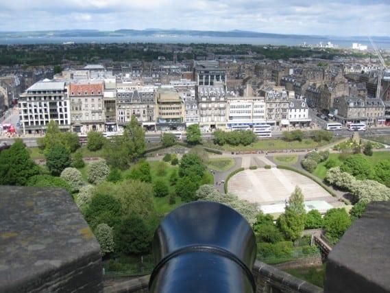 View of Edinburgh, Scotland from a Castle Canon
