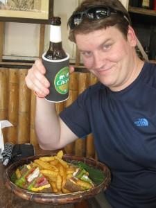 Railay Beach, thailand, lunch on beach, beer on beach, krabi, peanuts or pretzels travel blog