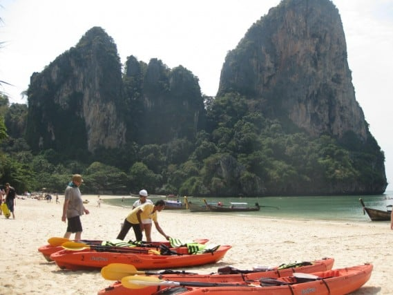 railay beach west, thailand, krabi, kayak rentals, peanuts or pretzels travel blog