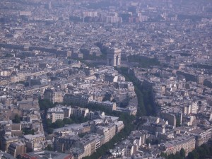 Arc de Triomphe view, view from eiffel tower, paris france europe, vacation, backpacking, peanuts or pretzels adventure travel blog