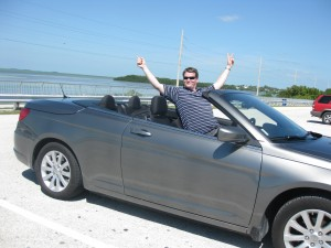 Josh posing in the convertible, miami to key west drive