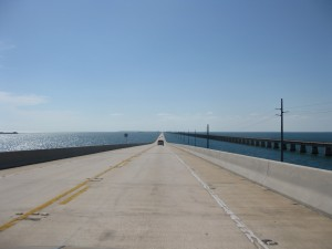 Enjoying the drive across 7 mile bridge - on our way down to Key West, Florida!