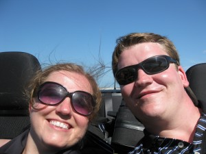 Josh and Liz in the convertible driving from Miami to Key West