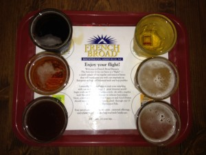 french broad brewery flight of beer in asheville