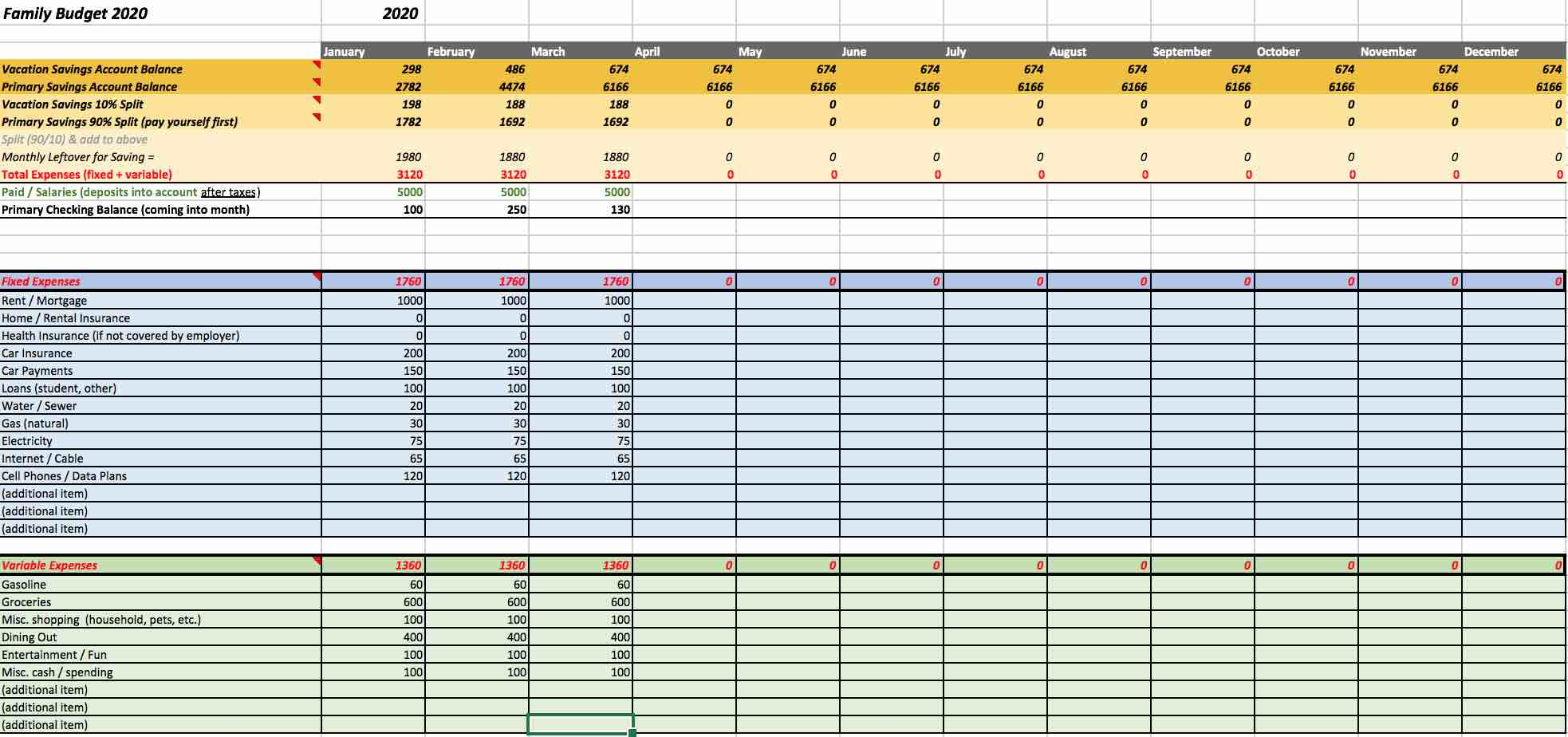 Excel budget template sample to save for a trip - download a copy free