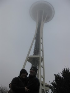 space needle seattle, space needle in fog, picture of space needle, seattle center, fun travel, adventure travel, peanuts or pretzels travel blog