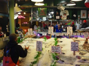 Pike's place market, pike's market fish toss, fish throwing in seattle, fun travel, adventure travel, peanuts or pretzels travel blog