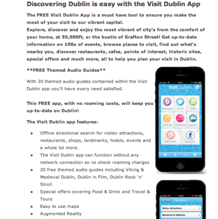dublin mobile app, download dublin audio guide, mobile travel guides, dublin visitor app, visit dublin app, dublin tourism tips, budget travel dublin, travel blog