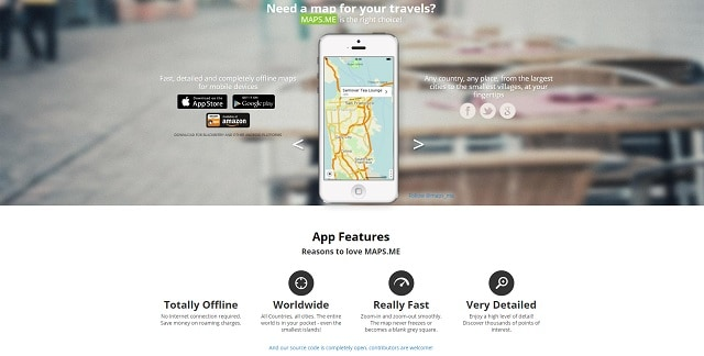 mapsme travel app homepage