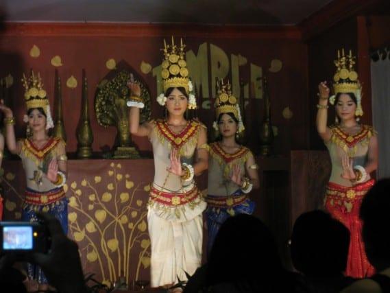 Enjoying traditional Khmer dancing in Cambodia