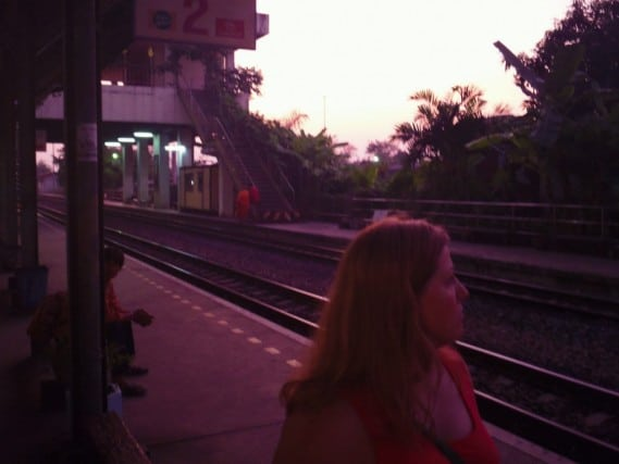 Bangkok, train ride, station, countryside, Cambodia, Thailand, Beyond the Postcard, Peanuts or Pretzels, culture, monk, offerings, riding the train in Thailand, good fortune, journey