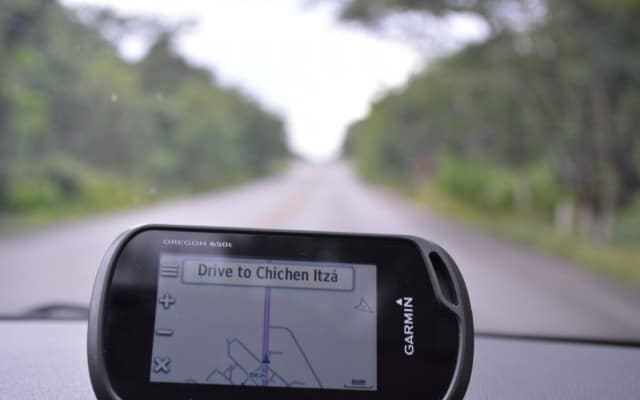 Up close picture of our Garmin GPS guiding us to drive to Chichen Itza during our road trip in the Yucatan Mexico