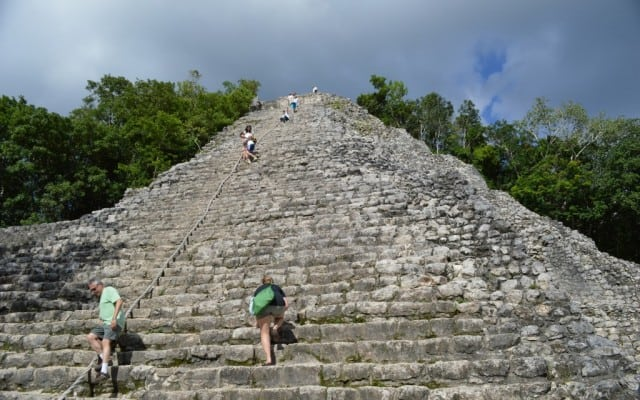 Liz climbing carefully up the Coba Pyramid in the Yuctan Mexico.