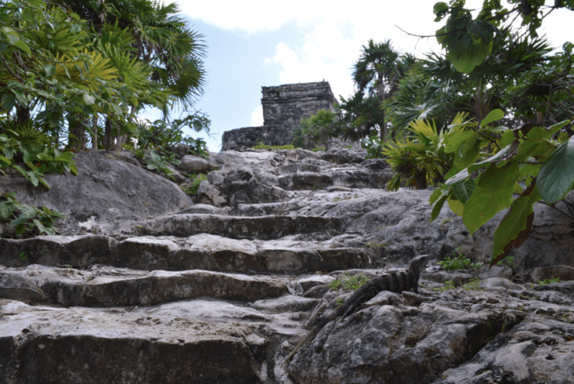 tulum ruins on the sea, tulum ruins on a cliff, mayan ruins on a cliff, yucatan ruins on water, yucatan travel, peanuts or pretzels travel blog