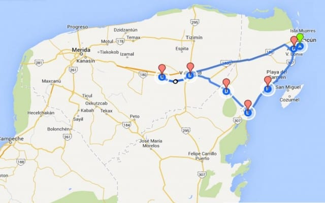 This is our driving map in the Yucatan from Google with marks for all our stops and where we stayed.