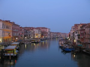 Early morning in Venice, Italy - awaiting the sunrise over the Grand Canal