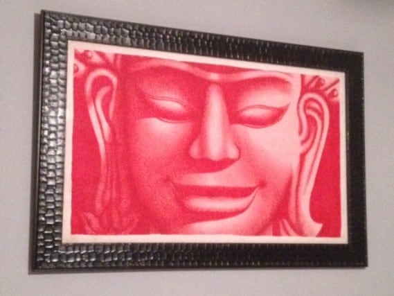 Looks good framed and hanging in our bedroom! Bangkok artwork, travel souvenir