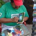 A Tulum local paints on tile with his fingernail! travel souvenir, tulum souvenir, travel art