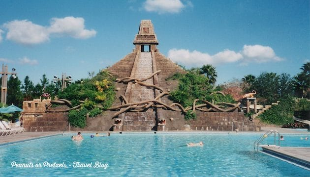 Relaxing by Disney's Coronado Springs resort pool - complete with cascading water fall down the pyramid!
