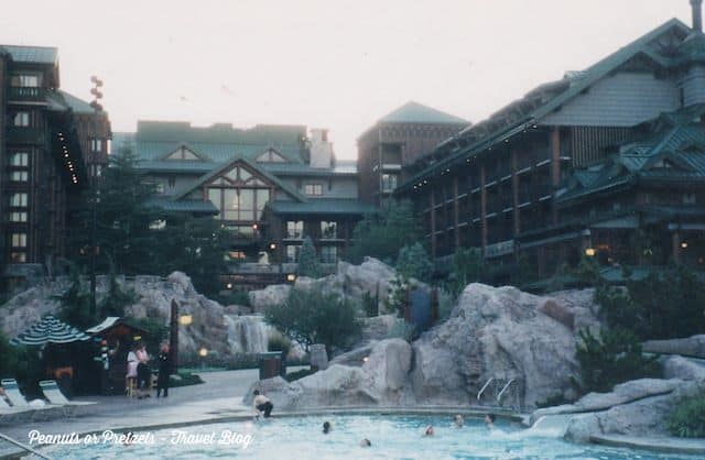 My favorite pool at Disney - The Wilderness Lodge! Complete with a river and cascading waterfalls!