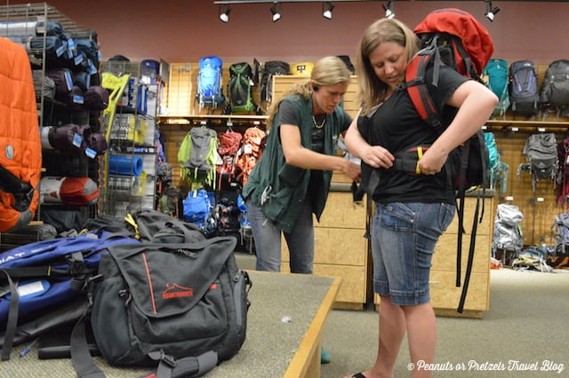 REI backpack fitting,