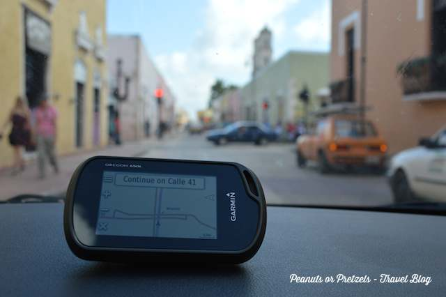 Following our GPS in Valladolid, Mexico made it easy to get around without feeling lost.