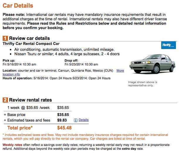 Total for one week car rental in Mexico - a steal! But wait...too good to be true!