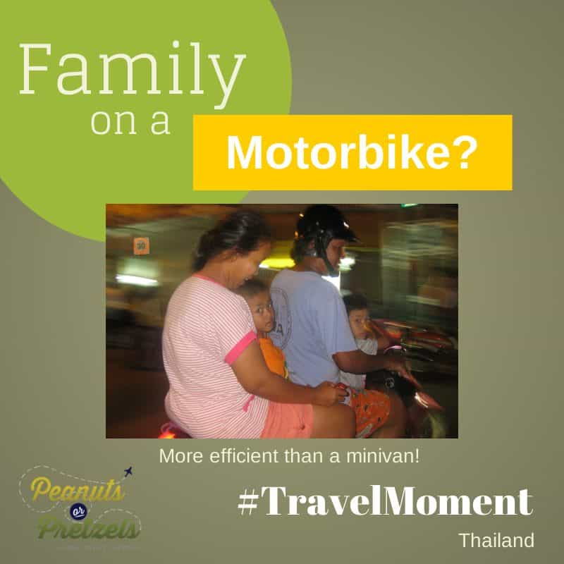 travel moment family on motorbike