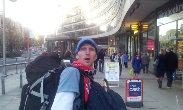Jonny Blair backpacking in Manchester