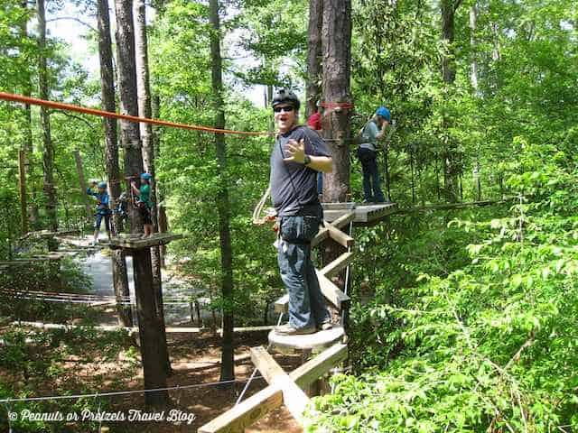 Josh on tree top adventure