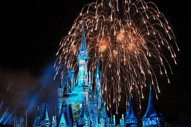 big falling fireworks behind disneyland castle at night