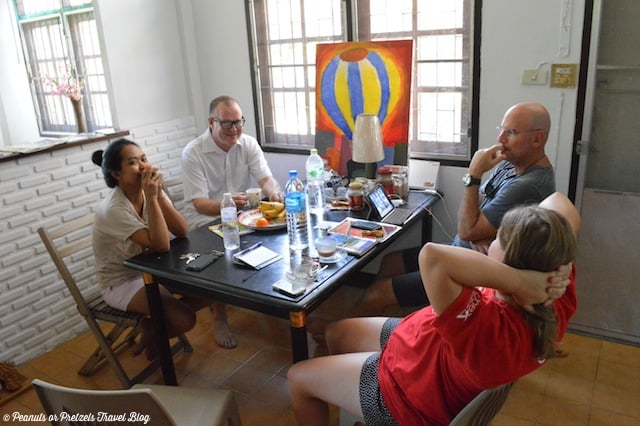 Hanging out with our Airbnb hosts in Bangkok