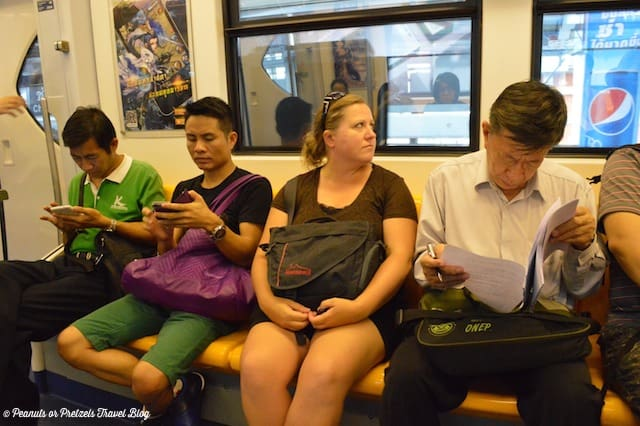 Riding the MRT train in Thailand - just another day commuting.