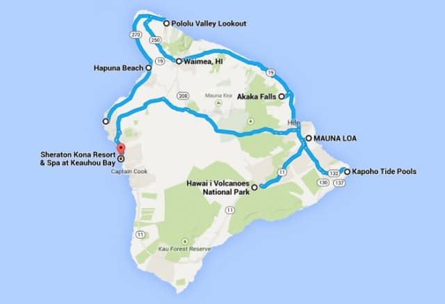 Our route on the big island of Hawaii