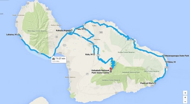 Our route on Maui, Hawaii