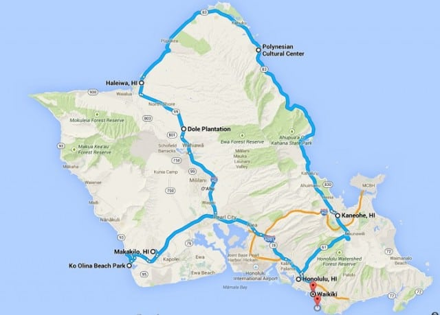 oahu route map