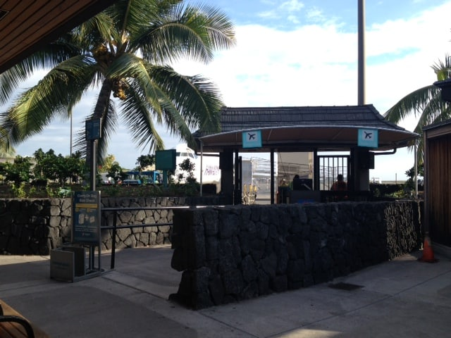 This is our gate...and that is our plane! At the Kona airport on the Big Island of Hawaii.