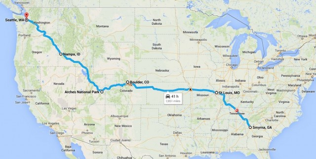 Our US road trip route