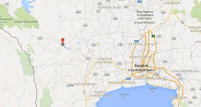 Kanchanaburi thailand map