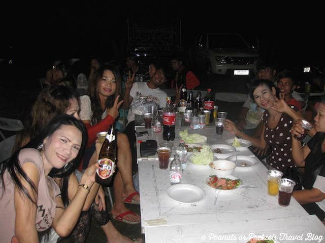We were invited to join this birthday party with locals and danced to strange Thai pop-music until 2 am!