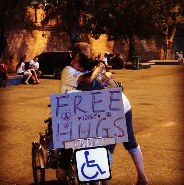 Free Hugs in Chiang Mai, Thailand - Peanuts or Pretzels Instagram